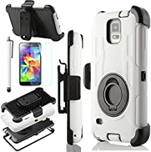 ULAK Samsung Galaxy S5 Case,Heavy Duty Rugged Hybrid Rubber Shockproof Hard Case for Samsung Galaxy S5 / Galaxy SV / Galaxy S V (2014) with Belt Clip Holster Kickstand (White/Black)