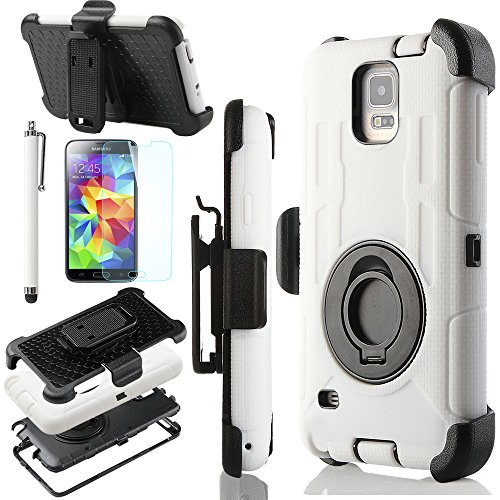 Ulak Heavy Duty Rugged Hybrid Rubber Shockproof Hard Case For Samsung Galaxy S5 S V With Belt Clip Holster Kickstand And Screen Protector (White/Black)