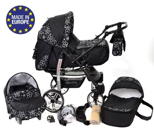 3-in-1 Travel System incl. Baby Pram with Swivel Wheels, Car Seat, Pushchair & Accessories, Black Flowers