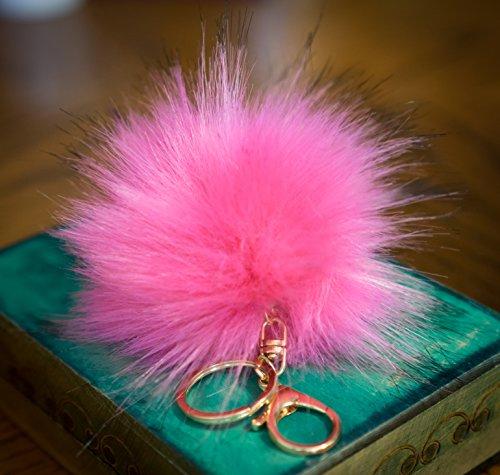 3per 2. 12cm Grande e morbida, in finta pelliccia Raccoon Stile POM POM grande designer oro chiusura portachiavi ciondolo, Hot Pink