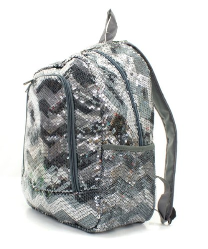 Chevron Sequins Backpack/bookbag Gray