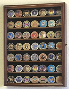 Military Challenge Coin Display Case Cabinet Holder Wall Rack w/ UV Protection -Walnut
