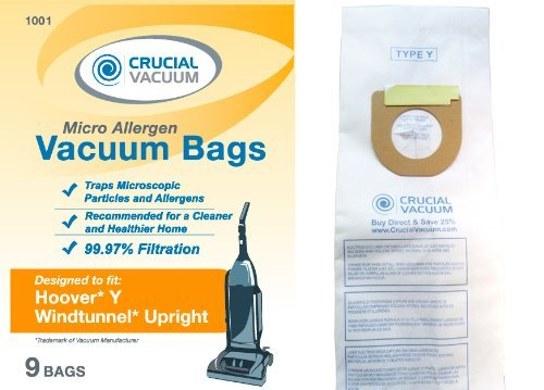 Hoover WindTunnel Type Y 9 Pack Vacuum Bags - Allergen filtration with Closure - Compare With Hoover Part # 4010100Y