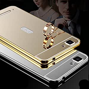 Aart Luxury Metal Bumper + Acrylic Mirror Back Cover Case for Vivo Y 28 + Zipper earphones/Hands free With Mic *Stylish Design* for all Mobiles By Aart store