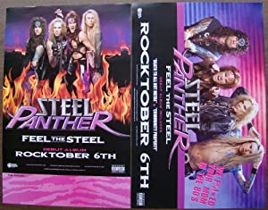 Steel Panther - Feel The Steel - Two Sided Poster - Rare - New - Metal Skool - Metal Shop - Danger Kitty - Michael Starr - Ralph Saenz - Stix Zadinia - Darren Leader - Lexxi Foxxx - Travis Haley - Satchel - Russ Parrish - Asian Hooker - Community Property - Stripper Girl