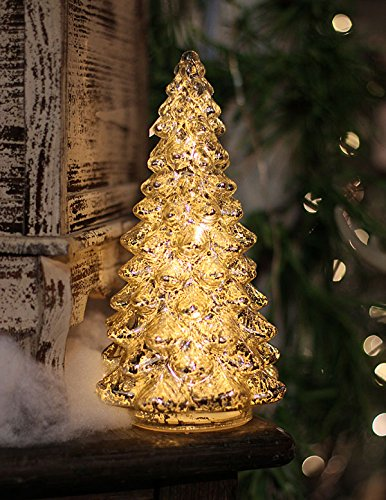 Silver Mercury Glass Christmas Tree - 10.5 Inch Battery Operated