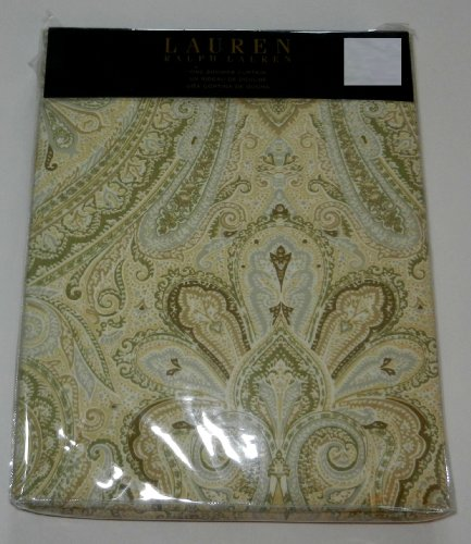 Lauren By Ralph Lauren Shower Curtain Fabric 70 X 72 Fenton Paisley Yellow Sage Grey White