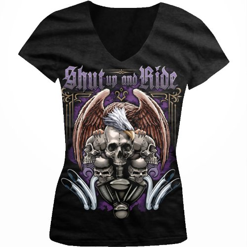 Shut Up And Ride Ladies Junior Fit V-neck T-shirt, Motorcycle Biker Eagle Skulls and Engine Design Junior's V-Neck Tee (Black, X-Large)