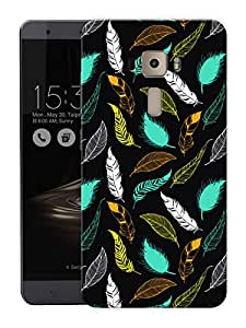 """Feathers Green PatternPrinted Designer Mobile Back Cover For """"Asus Zenfone 3 Ze552kl"""" (3D, Matte, Premium Quality Snap On Case)"""