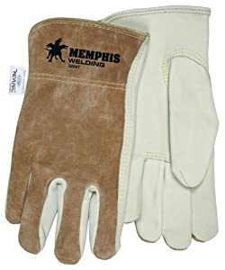 MCR Safety 3204XS Select Grade Cow Grain Leather Driver Gloves Sewn with Kevlar Thread and Memphis Logo, Cream/Brown, X-Small