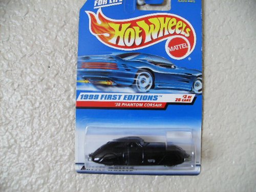 HOT Wheels Black '38 Phantom Corsair #656 1999 Gray interior First Editions Gray Logo White Wall 5 Spokes