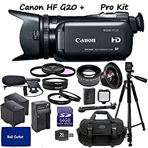 RnD Outlet Canon VIXIA HF G20 Full HD Camcorder RND Documentary Kit: Includes Full Size Aluminum Tripod With Case, Boom M