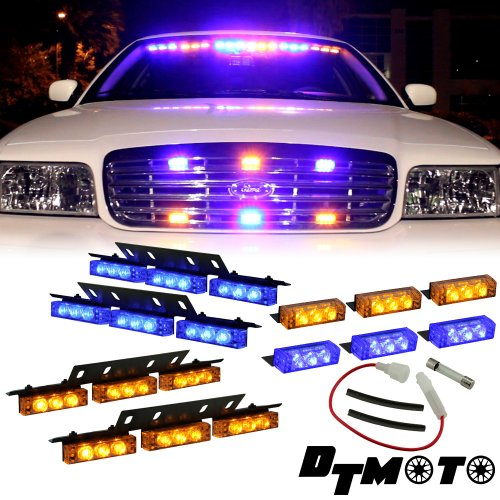 Amber Blue 36X Led Emergency Vehicle Dash Deck Grille Visor Strobe Warning Lights - 1 Set