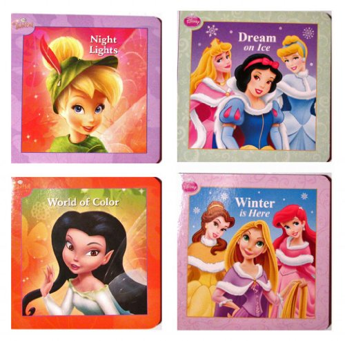 "Disney Princess Snow White - Rapunzel - Cinderella - Tinkerbell 4 Piece Set 10 Page Board Books 4"" x 4"" - 1"