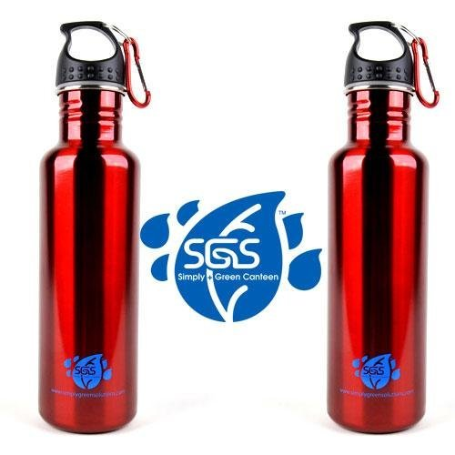 Stainless Steel Water Bottle Canteen 25Oz. - Twin Pack - Candy Apple Red front-1045401