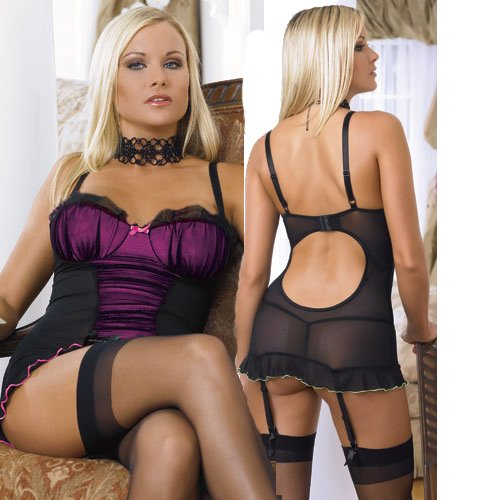 AD59P Full Set Sexy Black Purple Chemise Lingerie Minidress underwear size 8-12