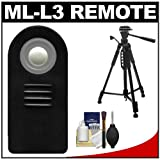 "Vivitar ML-L3 Wireless Shutter Release Remote Control with 58"" Tripod + Cleaning Kit for Nikon Coolpix P7100, P7700, 1 V2, V1, J1, J2, D600, D7000, D5200, D5100, D3200 Digital SLR Cameras"