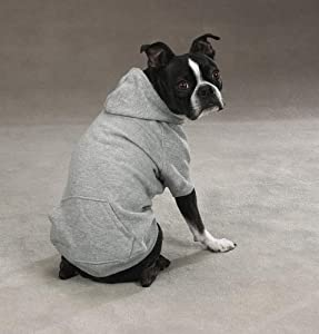 Zack & Zoey Polyester/Cotton Basic Dog Hoodie, Medium, 16-Inch, Heather Gray