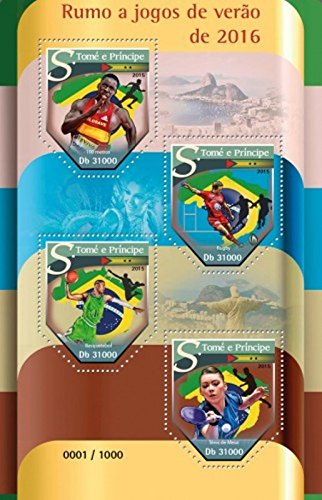 St Thomas - 2015 Summer Olympics - 4 Stamp Sheet - ST15518a