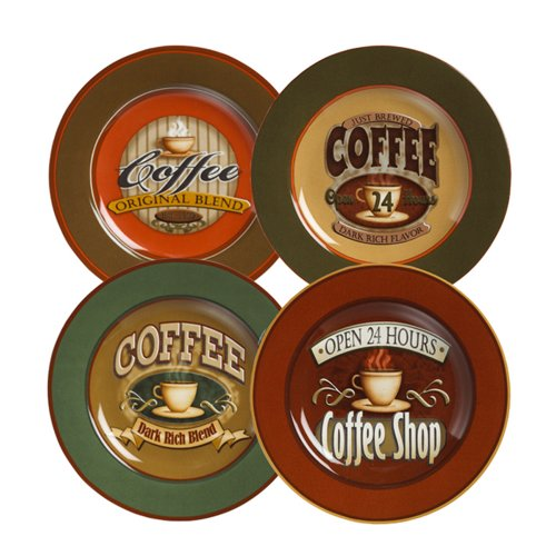 Amazon.com | Casa Moda Coffee Signs Set of Four Dessert Plates: Salad