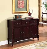 King's Brand R1021 Wood Console Sideboard Table with Drawers and Storage, Cherry Finish thumbnail