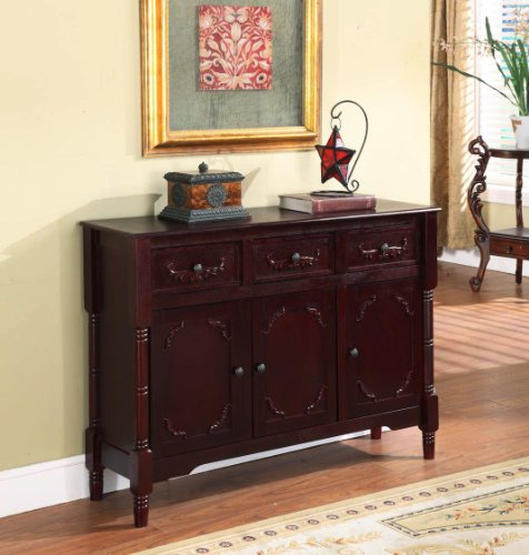 Cheap King's Brand R1021 Wood Console Sideboard Table with Drawers and Storage, Cherry Finish (2K#R1021)