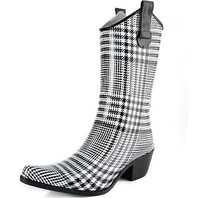 DailyShoes Cowboy Black White Plaid Prints High Heel Rain Boots,5 B(M) US