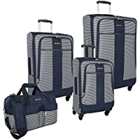 Nautica Beach Island 4 Piece Expandable Spinner Luggage Set (Navy/White)