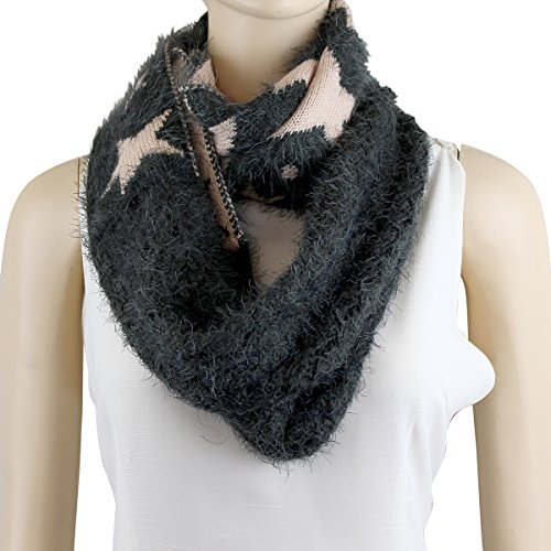 Super Soft Stars Infinity Scarf, Olive And Ivory