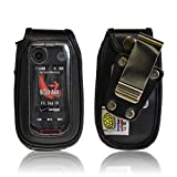 Turtleback Heavy Duty Black Leather for Motorola Barrage V860 Flip Phone Case with Rotating Belt Clip - Made in USA