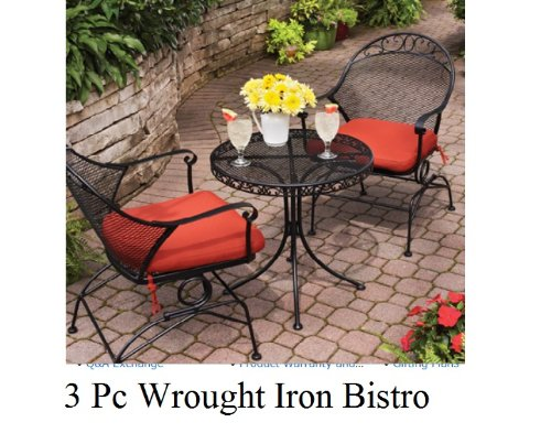 Outdoor Wrought Iron Bistro Set W / FREE Cushions