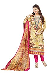 Shaily Retails Women's Bollywood Yellow Cotton Printed Dress Material