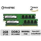 Timetec Hynix 2GB Kit(2x1GB) DDR2 800MHz PC2 - 6400 Non Ecc Unbuffered 1.8V CL6 1Rx8 Single Rank 240 Pin UDIMM Desktop PC Computer Memory Ram Module Upgrade (2GB Kit (2x1GB))