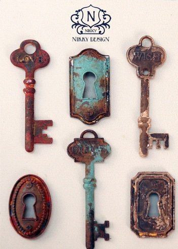 6 PC Faux Vintage Distressed Skeleton Key & Lock Magnet Set - Love, Dreams, Wish (Refrigerator Key Lock compare prices)