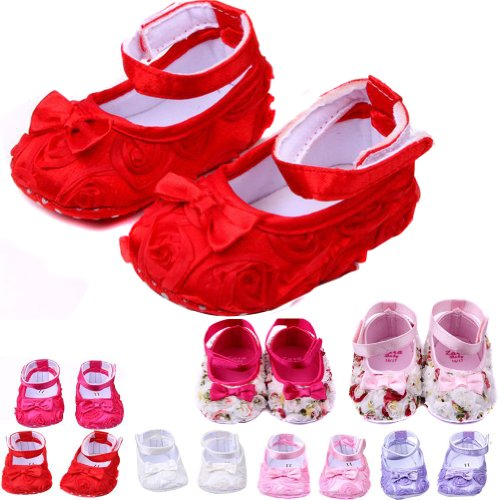 Nsstar Newborn Baby Girl Infant Toddler Soft Rose Style Princess Floral Shoes Cack (13Cm/5.11Inch, Red)