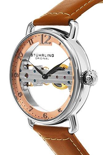 STUHRLING ORIGINAL Brücke Herren Automatik Uhr mit Rose Gold Zifferblatt Analog-Anzeige und braunem Lederband 976.02 2