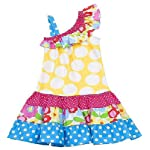 Rare Editions Baby-Girls Infant Yellow Blue Pink Knit Bodice to Tiered Skirt 1-Shoulder Dress