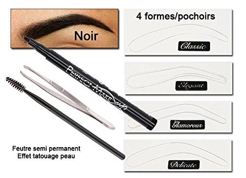 kit teinture sourcils semi permanent noir avec pochoirs - Coloration Sourcils Noir