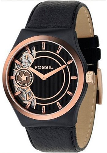 Fossil Men's Black Leather Strap Watch