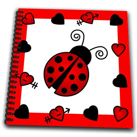 Db_12112_1 Janna Salak Designs Prints And Patterns - Love Bugs Red Ladybug With Hearts - Drawing Book - Drawing Book 8 X 8 Inch