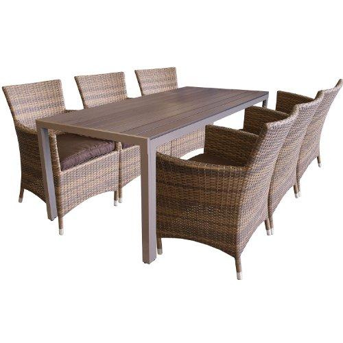 dino lorenza preis 7tlg garnitur aluminium polywood 205x90cm poly rattan sessel braun. Black Bedroom Furniture Sets. Home Design Ideas