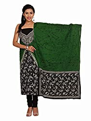 Green & Black Cotton Suit with Kantha Work
