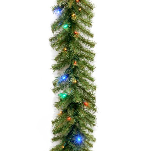 National Tree Nf-309-9A-B Norwood Fir Garland With 50 Battery Operated Multi 4-Color Led Lights, 9-Feet By 10-Inch