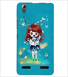 PrintDhaba Doll and Butterfly D-1146 Back Case Cover for LENOVO A6000 (Multi-Coloured)
