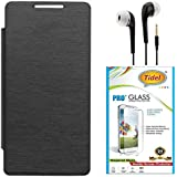 Tidel Black Durable Premium Flip Cover Case For Infocus M370i With Tidel 2.5D Curved Tempered Glass & 3.5mm Jack Handsfree Earphone
