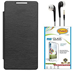 Tidel Premium Durable Flip Cover Case for Micromax Micromax YU Yuphoria YU5010 ( Black ) With Tidel 2.5D Curved Tempered Glass & 3.5mm Earphone