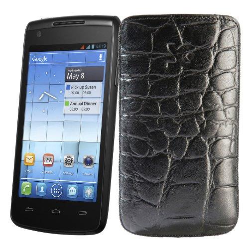 Original Suncase Tasche fuer / Alcatel One Touch 992D (Dual-Sim) / Leder Etui Handytasche Ledertasche Schutzhuelle Case Huelle - Lasche mit Rueckzugfunktion* In Croco-Schwarz