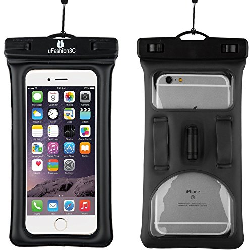 UFashion3C [Floating] Waterproof Cell Phone Case Dry Bag Pouch [With Headphone Jack,Armband,Lanyard] for iPhone 6,6S,6 Plus,6S Plus, Samsung Galaxy S5,S6,S7,Edge,Note 3,4,5, LG G3,G4,G5 (Black)