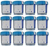 SNL Quality Sterile Specimen Cups, Screw-on Cap with Tamper Evident Seal, 3oz., Blue Cover - Pack of 12
