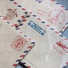 40 sobres, diseño vintage con sellos de correo por avión